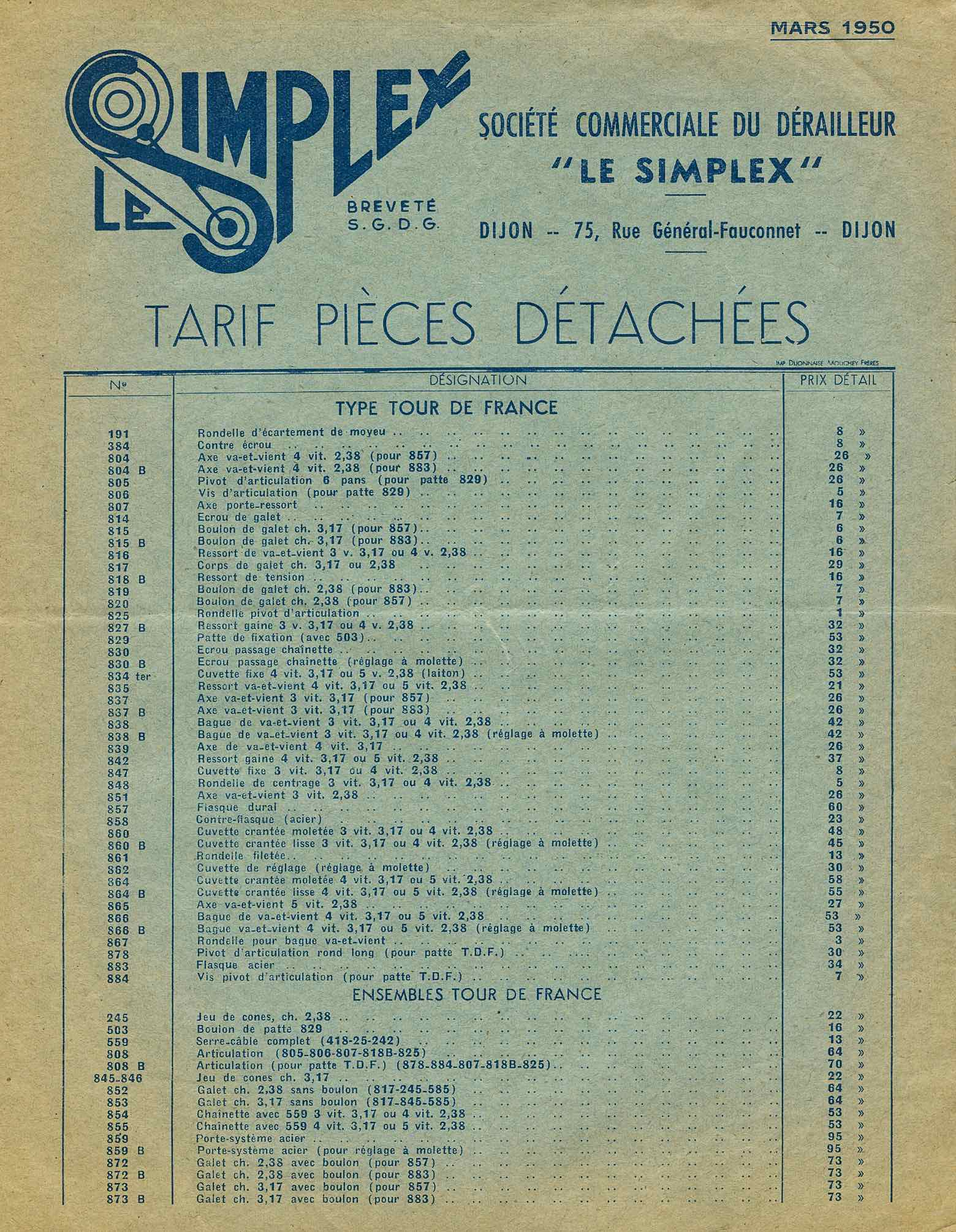 simplex tarif pieces detachees 1950 scan 1. Black Bedroom Furniture Sets. Home Design Ideas