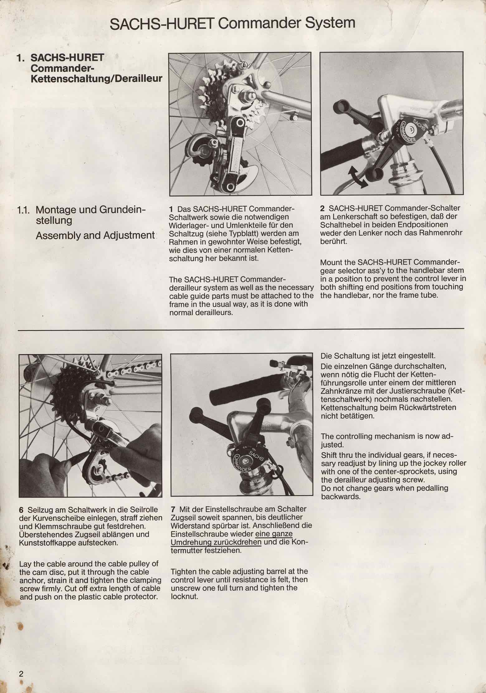 Sachs-Huret Commander derailleur - instructions scan 2