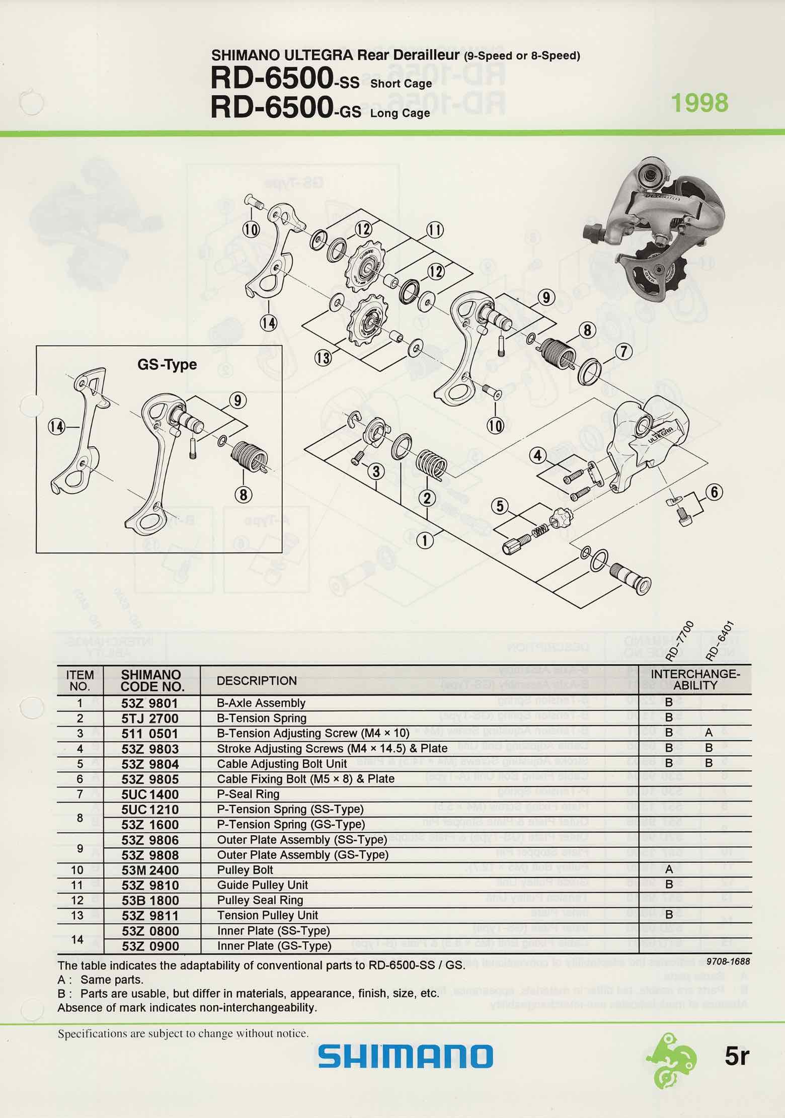 Shimano Spare Parts Catalogue - 1994 to 2004