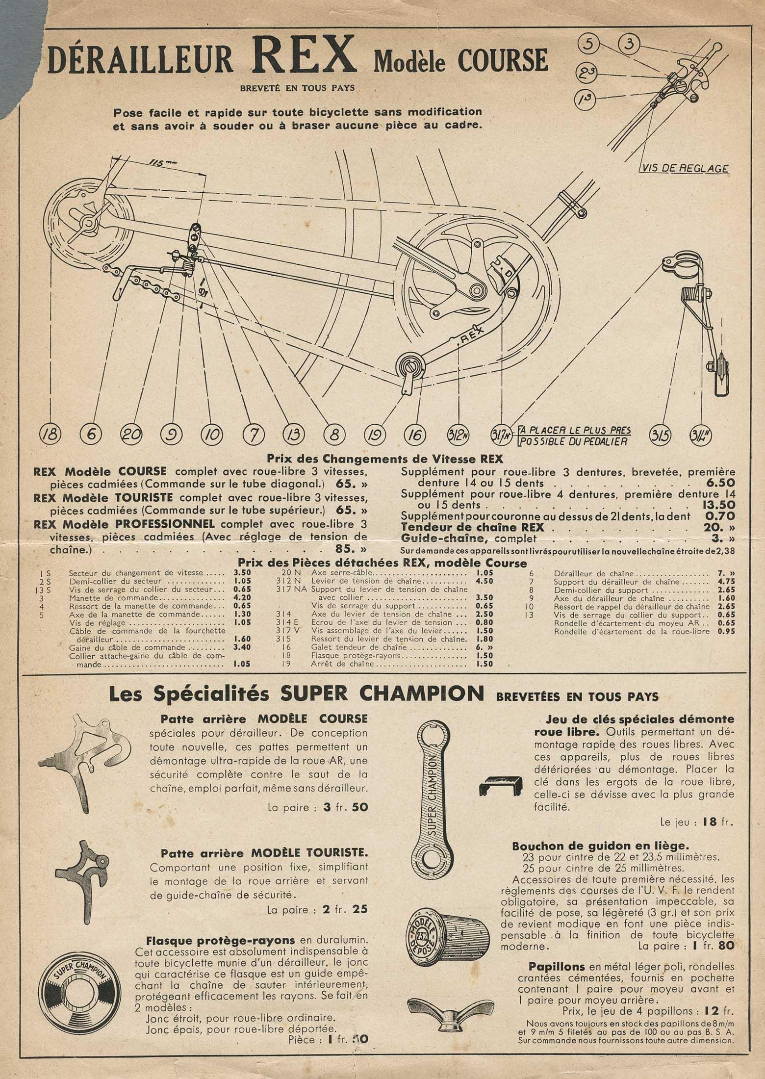 super champion tarif 10 janvier 1938 scan 4. Black Bedroom Furniture Sets. Home Design Ideas